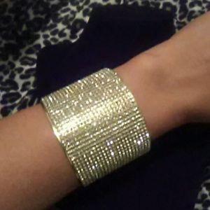 Jewelry - Gold Extra Chunky Rhinestone Bangle Bracelet